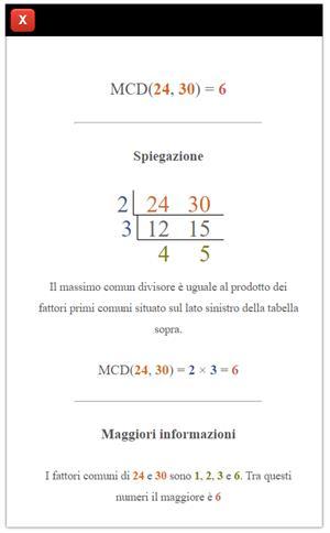 Massimo Comune Divisore online