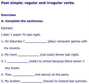 Regular verbs exercises
