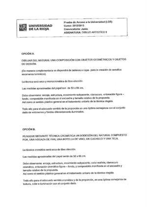 Examen de Selectividad: Dibujo artístico. La Rioja. Convocatoria Junio 2013