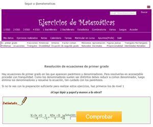 Resolución de ecuaciones de primer grado (ematematicas.net)