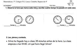 Repaso de Matemáticas de 4º de primaria (IES Lorca de Córdoba)