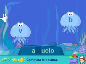 Las Medusas. Completa con b o v