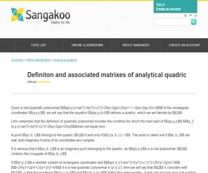 Definiton and associated matrixes of analytical quadric