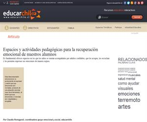 Espacios y actividades pedagógicas para la recuperación emocional (Educarchile)