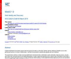 Nuevo borrador de WebID 1.0. Web Identity and Discovery. W3C