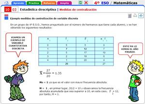 Medidas de centralización. Matemáticas para 4º de Secundaria