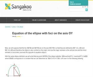 Equation of the ellipse with foci on the axis OY