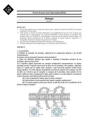 Examen de Selectividad: Biología. Islas Baleares. Convocatoria Junio 2013