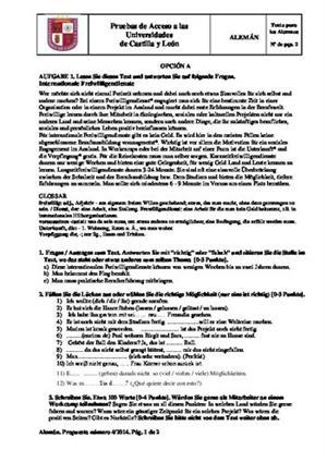 Examen de Selectividad: Alemán. Castilla y León. Convocatoria Junio 2014