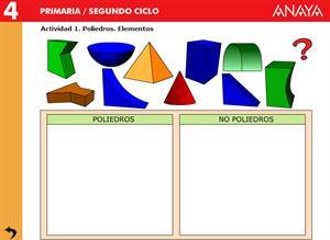 Cuerpos geométricos. Elementos de los poliedros. Editorial Anaya