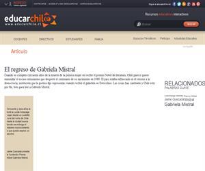 El regreso de Gabriela Mistral (Educarchile)