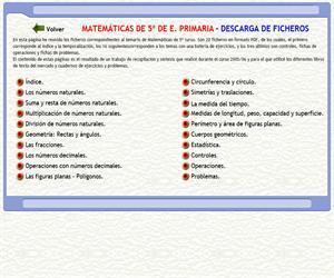 Matemáticas de 5º Curso de E. Primaria. Temario y ejercicios en formato PDF