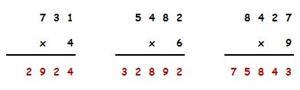 Operaciones. Multiplicación por dos o tres cifras. Editorial Anaya