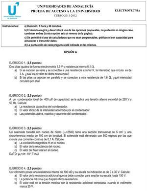 Examen de Selectividad: Electrotecnia 1. Andalucía. Convocatoria Junio 2012