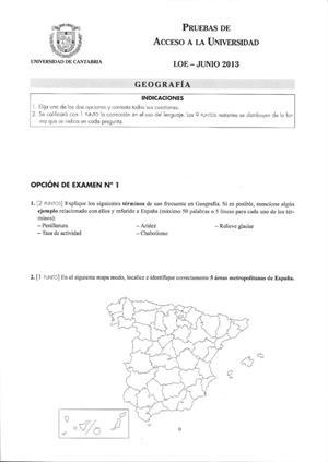 Examen de Selectividad: Geografía. Cantabria. Convocatoria Junio 2013