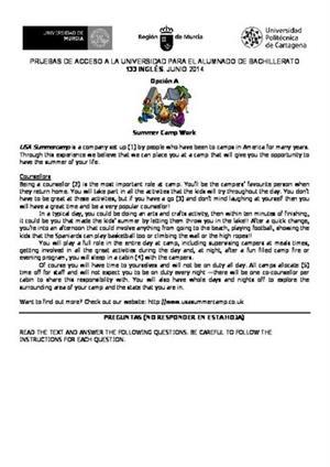 Examen de Selectividad: Inglés. Murcia. Convocatoria Junio 2014