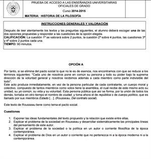 Examen de Selectividad: Historia de la filosofía. Madrid. Convocatoria Junio 2015
