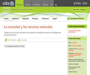 La sociedad y los recursos naturales