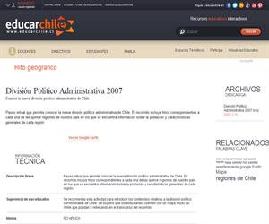 División Político Administrativa 2007 (Educarchile)