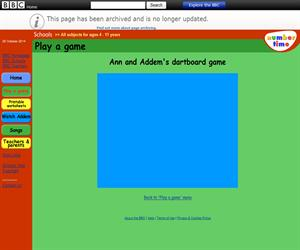 Ann and Addem's dartboard game (BBC - Number Time)