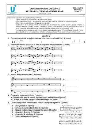 Examen de Selectividad: Lenguaje y práctica musical. Andalucía. Convocatoria Junio 2013