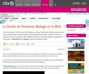 La lección de Anatomía: Biología en la Web