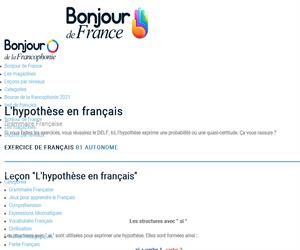 Hypothèse (si ... + ...) Las condicionales en francés. Bonjour de France