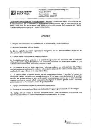 Examen de Selectividad: Biología. La Rioja. Convocatoria Julio 2013