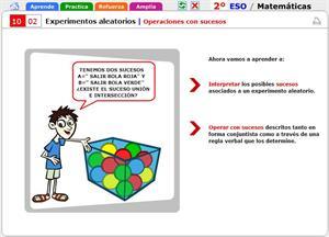 Operaciones con sucesos. Matemáticas para 2º de Secundaria