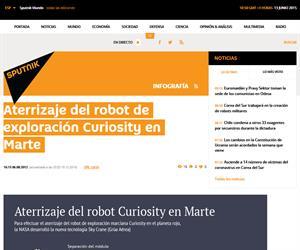 Infografía del aterrizaje del robot Curiosity en Marte