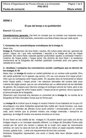 Examen de Selectividad (Soluciones): Dibujo Artístico. Cataluña. Convocatoria Junio 2012