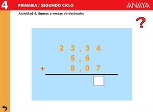 Números decimales. Sumas y restas con decimales. Editorial Anaya