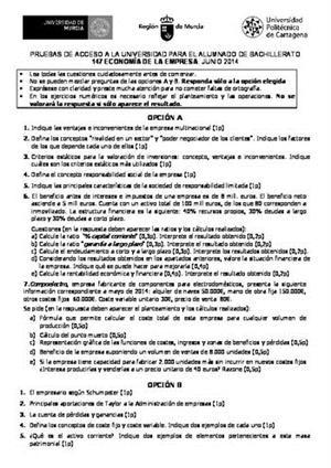 Examen de Selectividad: Economía. Murcia. Convocatoria Junio 2014