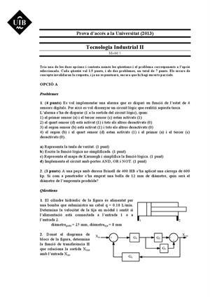 Examen de Selectividad: Tecnología industrial. Islas Baleares. Convocatoria Junio 2013