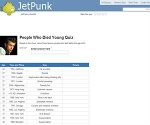 People Who Died Young Quiz