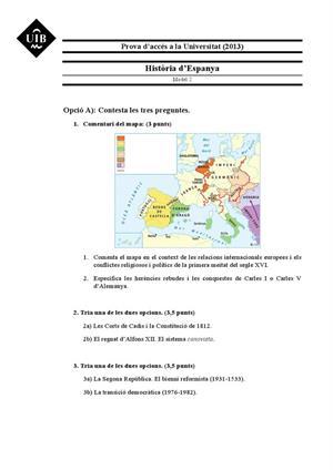 Examen de Selectividad: Historia de España. Islas Baleares. Convocatoria Septiembre 2013