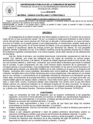 Examen de Selectividad: Lengua castellana. Madrid. Convocatoria Junio 2015