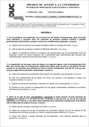 Examen de Selectividad: Ciencias de la Tierra. Comunidad Canaria. Convocatoria Junio 2014