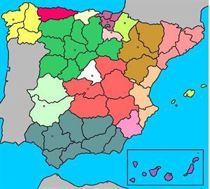 Mapa de España: ejercicios de comunidades, provincias y ciudades.