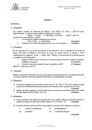 Examen de Selectividad: Química. Asturias. Convocatoria Junio 2013