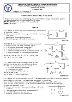 Examen de Selectividad: Electrotecnia. Madrid. Convocatoria Junio 2014
