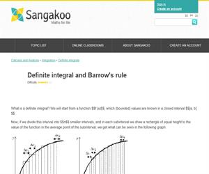 Definite integral and Barrow's rule