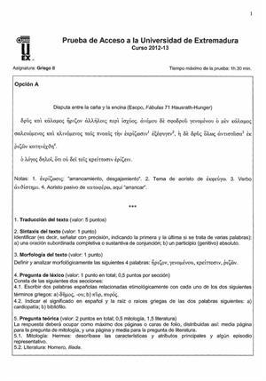 Examen de Selectividad: Griego. Extremadura. Convocatoria Septiembre 2013