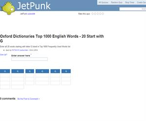 Oxford Dictionaries Top 1000 English Words - 20 Start with G