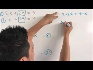 Sistema de ecuaciones lineales (2x2). Método de igualación. Ejercicio 1