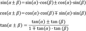 Seno, coseno y tangente de la suma y la resta de ángulos