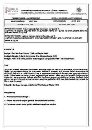 Examen de Selectividad: Historia del arte. Comunidad Valenciana. Convocatoria Junio 2014