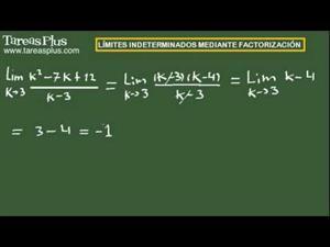 Cálculo de límites indeterminados mediante factorización. Ejercicio 4 de 15 (Tareas Plus)