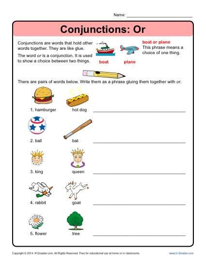Conjunction Worksheet: Or