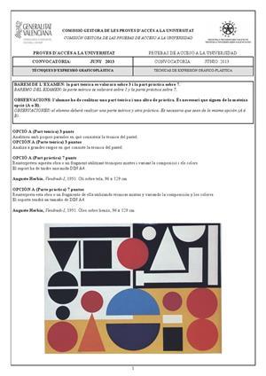 Examen de Selectividad: Técnicas de expresión grafo-plástica. Comunidad Valenciana. Convocatoria Junio 2013